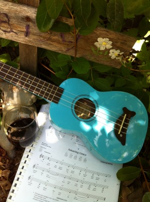 ukulele, wine and amazing grace music in garden