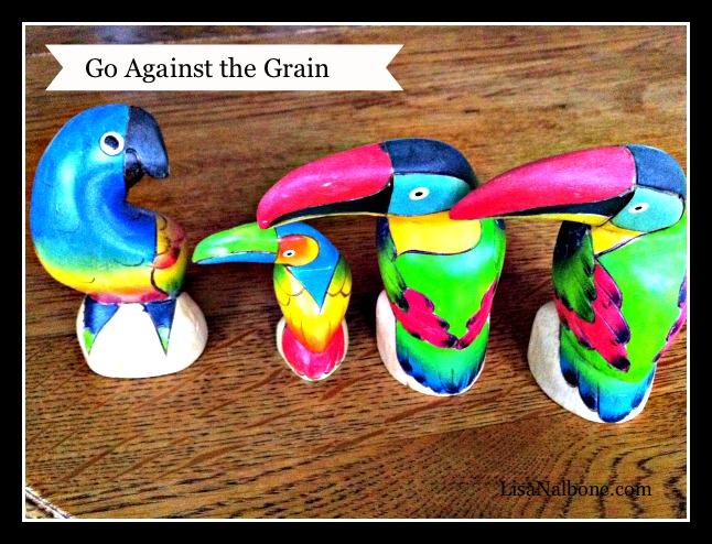 one bird facing three birds facing left - go against the grain  www.LisaNalbone.com